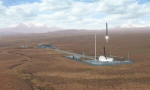 An artist's impression of a rocket launch at the proposed Space Hub Sutherland site.