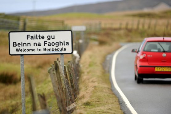 The Gaelic-language sign welcoming people to Benbecula. Picture by Sandy McCook