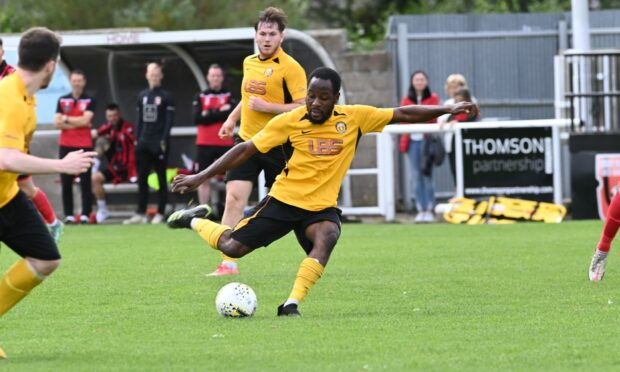 Darren Brew scored a stunner for Fort William against Inverurie. Picture by Paul Glendell
