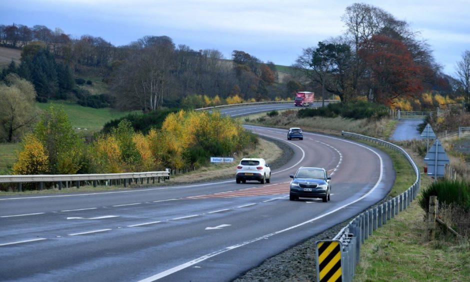 The A96 between Inverurie and Huntly.