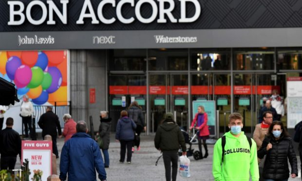 Shoppers on St Nicholas Street, Aberdeen.