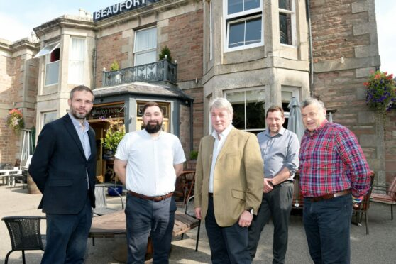 Meeting for lunch, left-right, Ryan Forbes of the Beaufort Hotel, Michael Fraser, Badachro Distillery, Norman Sinclair, Orkney Brewery, Stan Arnaud, and John Murray of the Highland Food and Drink Club.