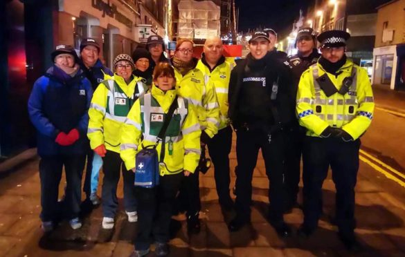 The Divisional Alcohol and Violence Reduction Unit on the streets with street pastors, Banffshire First Aid and CPT