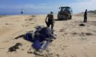 Balfour Beatty construction workers cleared 12 tonnes of waste from the beach.