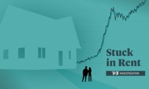 A graphic showing the soaring price of renting in Scotland in a graph alongside two silhouetted figures