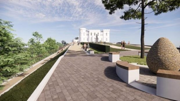 An artist's impression of Inverness Castle garden and public walkway.