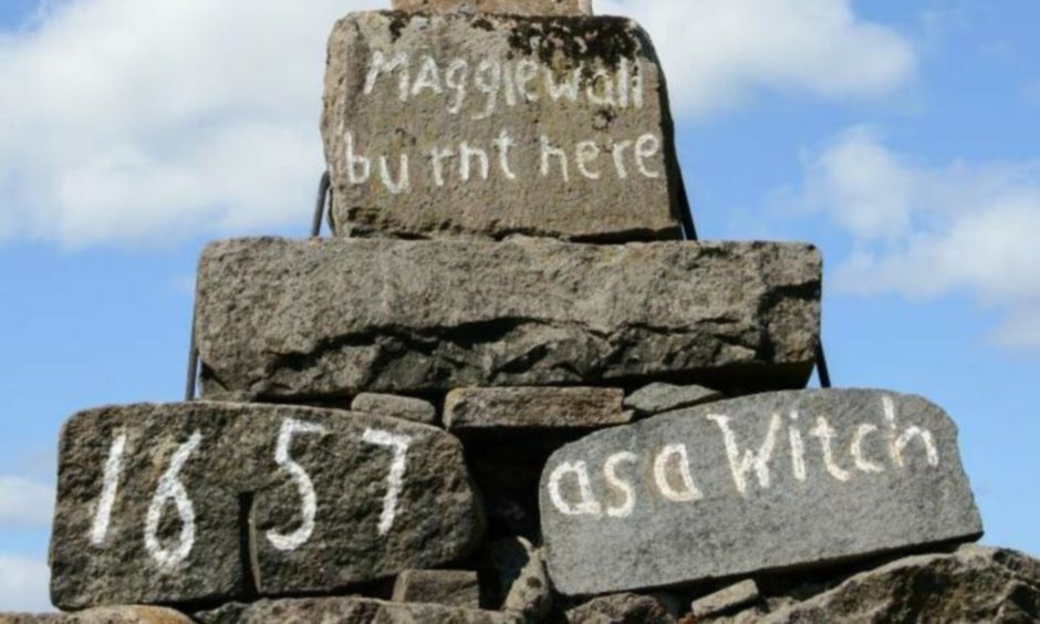 Memorial to Maggie Wall, who was said to have been a witch.