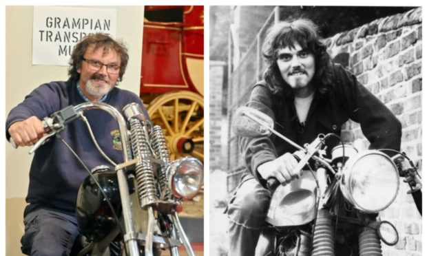 Mike Ward, curator of the Grampian Transport Museum, in 2021 at the age of 65, and with a dramatically different style at the age of 18.  Picture by Kami Thomson.