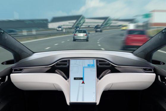 Autonomous car on a road.