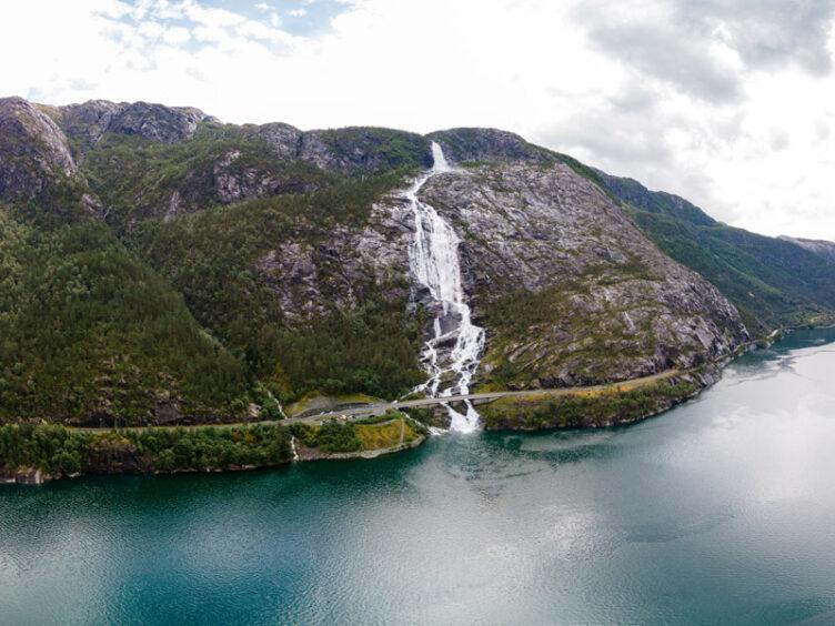 Langfoss Waterfall, Åkrafjord, Norway