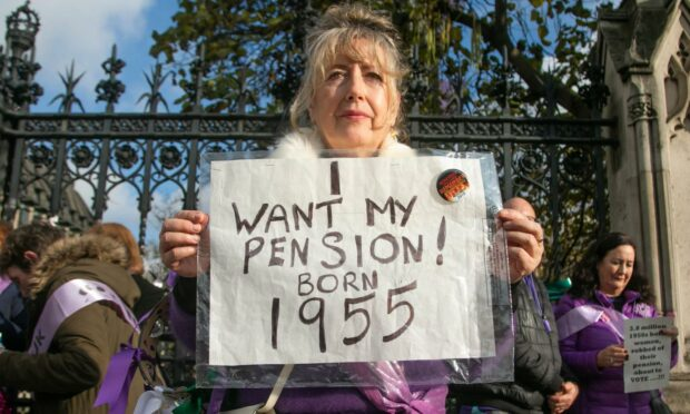 Women from Waspi (Women Against State Pension Inequality) demonstrate outside Parliament in 2019 (Photo: Amer Ghazzal/Shutterstock)