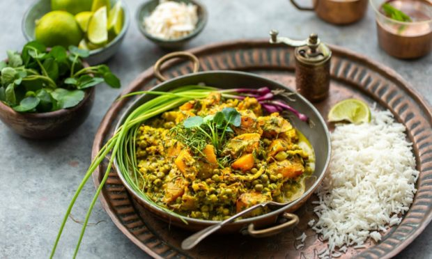 Southern Indian pumpkin, cauliflower and watercress curry.