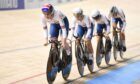 Katie Archibald, Megan Barker, Neah Evans and Josie Knight of Great Britain in action during the women's team pursuit qualifying.