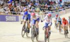 Great Britain's Katie Archibald and Neah Evans race in the women's madison final.