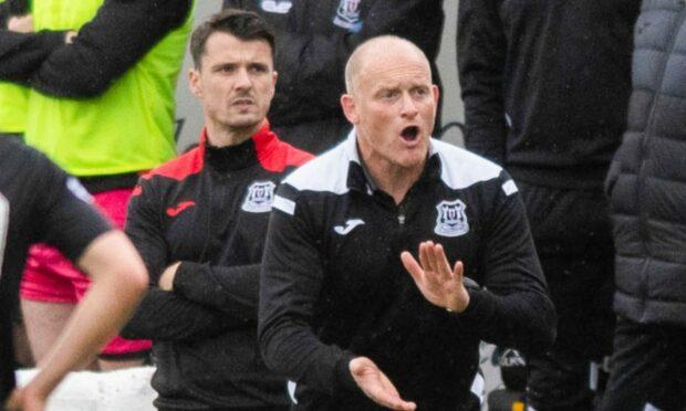 Elgin City assistant boss Steven Mackay, left, alongside manager Gavin Price.