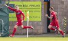 Marcus Fraser celebrates netting for St Mirren.