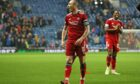 Aberdeen captain Scott Brown at full time during the 2-2 draw against Rangers.
