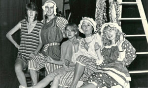 1984 - Students Ann Munro, Bruce Fraser, Janice Stott, Sarah Stankler and Gina Hanlon rehearse their pantomime