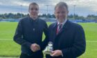 Alyn Gunn, left, receieves his UK Coaching award from Caley Thistle chairman Ross Morrison ahead of Saturday's match against Morton.