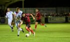 Inverurie's Neil Gauld, right, tries to get away from Brechin's Jamie Bain
