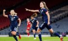 Christy Grimshaw celebrates scoring Scotland's first goal of the game during the FIFA Women's World Cup 2023 qualifying match at Hampden Park, Glasgow. Photo by: Jane Barlow/PA Wire.