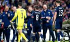 Scotland manager Steve Clarke (second right) speaks to Jack Hendry at the end of the qualifier against Israel.