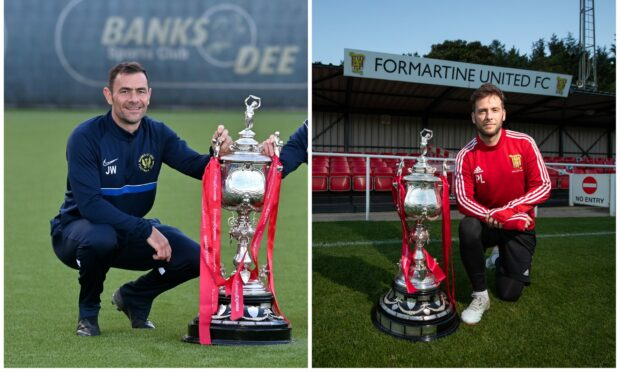 Banks o' Dee co-manager Jamie Watt, left, and Formartine United player-manager Paul Lawson are hoping for Evening Express Aberdeenshire Cup glory