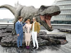 Chris Pratt (left), Bryce Dallas Howard and Jeff Goldblum (right) attending a photocall for Jurassic World: Fallen Kingdom, held at the More, London. (Ian West/PA)