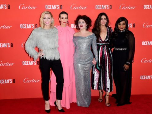 Cate Blanchett, Sarah Paulson, Helena Bonham Carter, Sandra Bullock and Mindy Kaling attending the European premiere of Oceans 8 (Ian West/PA)