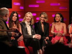 Graham Norton, Sandra Bullock, Cate Blanchett, Sarah Paulson, Rihanna and Helena Bonham Carter during filming for the Graham Norton Show (Isabel Infantes/PA)