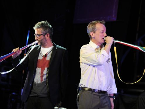 David Baddiel and Frank Skinner provided the vocals for Three Lions (PA)