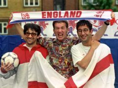 Baddiel and Skinner were among the famous faces to cheer England's win over Colombia (PA)