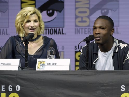 Jodie Whittaker and Tosin Cole attend the Doctor Who panel at Comic-Con (Richard Shotwell/Invision/AP)