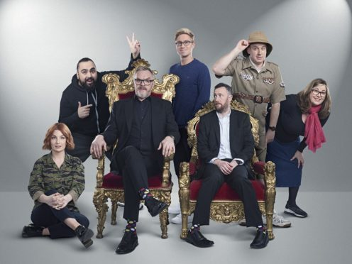 Taskmaster, starring (L-R) Alice Levine, Asim Chaudhry, Greg Davies, Russell Howard, Alex Horne, Tim Vine and Liza Tarbuck, is one of UKTV's most popular shows (UKTV/PA)