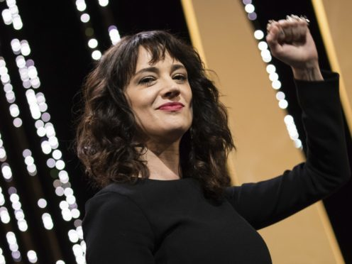 Actress Asia Argento gestures during the closing ceremony of the 71st international film festival in Cannes, France (Vianney le Caer/AP)