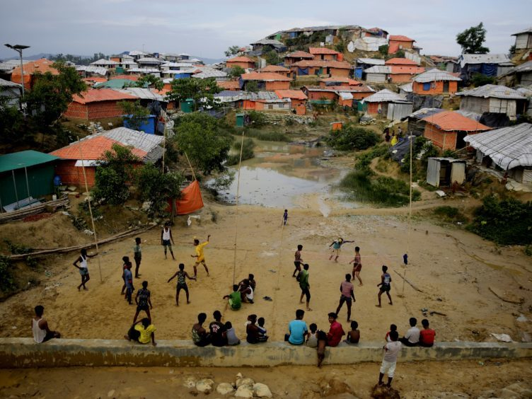 Rohingya refugees at Balukhali Refugee Camp in Bangladesh (AP)