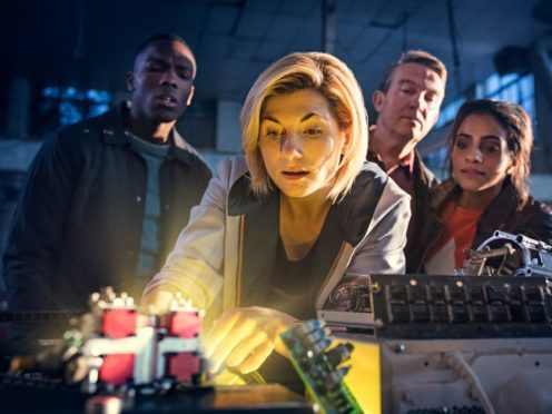 Jodie Whittaker as The Doctor (centre), Bradley Walsh as Graham (2nd right) and Mandip Gill as Yaz (1st right) (Sophie Mutevelian/PA)