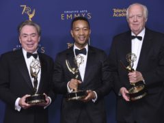 Andrew Lloyd Webber, left, John Legend, and Tim Rice winners of the award for outstanding variety special for Jesus Christ Superstar Live in Concert (Richard Shotwell/Invision/AP)