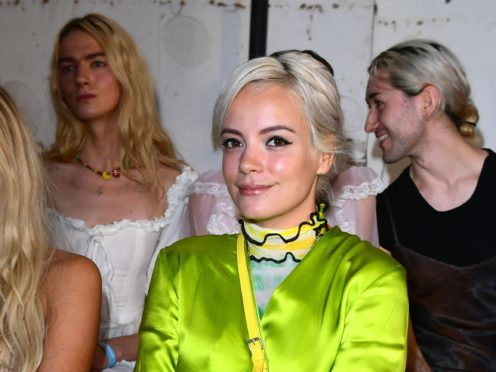 Lily Allen on the front row during the Fashion East Fashion Week SS19 show held at the Hospital Club, London.
