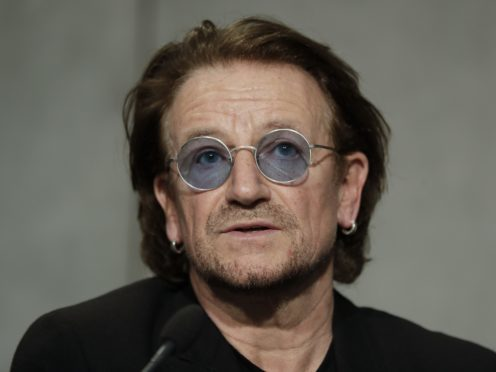 U2 frontman Bono after a meeting with Pope Francis, at the Vatican (Andrew Medichini/AP)