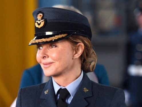 Carol Vorderman attends the the consecration parade for 617 Squadron's new standard at RAF Marham in Norfolk (Joe Giddens/PA)