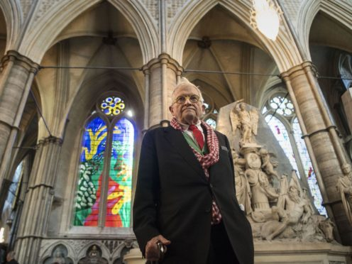 David Hockney in front of The Queen's Window at Westminster Abbey (Victoria Jones/PA)