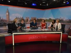 The all-female line-up of the Politics Live debut. (BBC/Jeff Overs)
