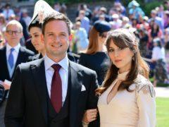 Patrick J Adams and wife Troian Bellisario (PA)