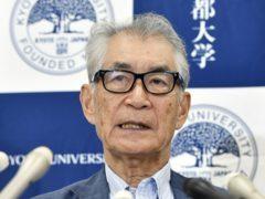 Tasuku Honjo of Kyoto University speaks during a press conference (Nobuki Ito/AP)