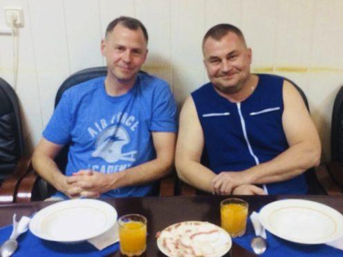 Astronauts Nick Hague, left, and Alexei Ovchinin (Roscosmos via AP)