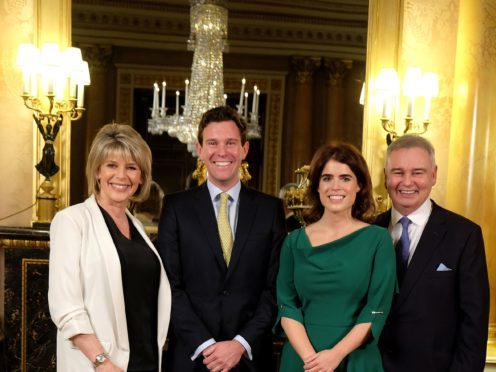 Princess Eugenie and Jack Brooksbank (centre), were interviewed by ITV This Morning husband and wife duo Eamonn Holmes and Ruth Langsford (Royal Communications/PA)