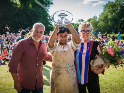 Judges Prue Leith and Paul Hollywood with Rahul (C4/Love Productions/Mark Bourdil)