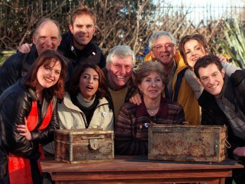 Past and present Blue Peter presenters pictured in 2000: Simon Groom (top left), Simon Thomas (top 2nd left), (L-R) Janet Ellis, Konnie Huq, Peter Purves, Valerie Singleton, John Noakes, Katy Hill and Matt Baker (PA)