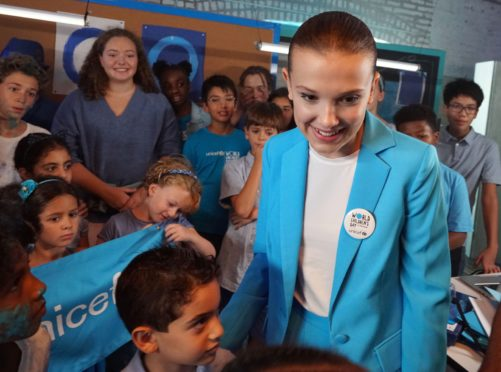 Millie Bobby Brown on the set of a video produced for World Children's Day 2018 (Unicef/Giles Clarke)